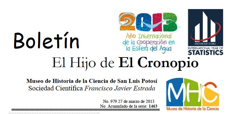 """Boletín """"El hijo del cronopio"""". Museo de Historia de la Ciencia de San Luis Potosí."""